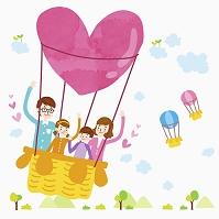 イラスト 気球に乗った家族