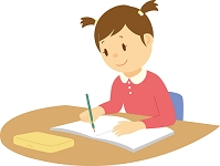 勉強をする小学生女子