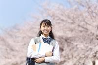 桜とノートを抱える女子中学生