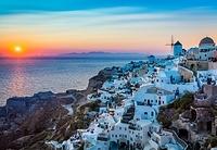 ギリシャ サントリーニ島 イア 夕日