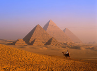 エジプト ギザ ラクダとピラミッド