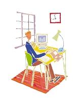 イラスト パソコンの前に座る男性