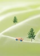 丘を走るエコカーイメージ