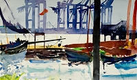 Hamburg, container port, 2009 (watercolour)