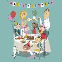 誕生日をお祝いする家族