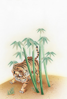 竹林にトラ
