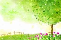 春の野原と巨木 イラスト