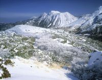 霧氷と九重連山 三俣山