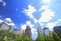 東京都 丸の内の高層ビル群と青空