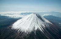 山梨県 富士山(高度4,800mより撮影)と大沢崩れ
