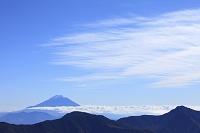 静岡県 富士見平 富士山と山並み青空