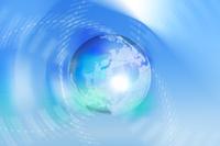 地球と交差する点線と光 CG