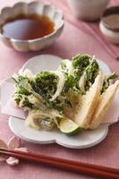 菜の花と新玉ねぎの掻揚げと竹の子の天ぷら