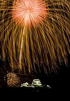 愛媛県 松山城と花火