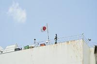 自動車専用船(日本郵船) - 船尾に設置された国旗