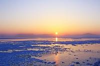北海道 能取岬から見る日の出の知床連峰と流氷