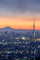 千葉県 アイリンクタウン展望台よりスカイツリーと富士山