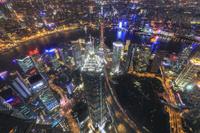 中国 上海 高層ビル群 夜景(上海環球金融中心の展望台から撮...