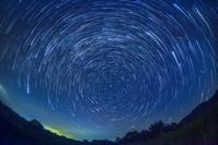 新潟県 光ヶ原高原と北極星と日周運動