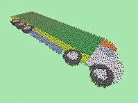 人文字で描かれたカラフルなトラック