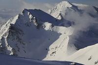 長野県 白馬岳より残雪の杓子岳・白馬鑓ヶ岳