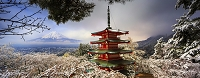 山梨県 忠霊塔と富士山