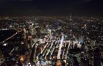 東京都 夜の銀座より東京駅周辺と東京スカイツリー(粋)