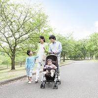 並木道を散歩する日本人家族