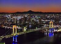 東京都 レインボーブリッジと富士山/夜景