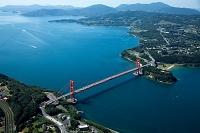 平戸大橋 吊り橋 本土より平戸島方面