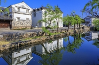 岡山県 新緑の倉敷川と倉敷民芸館と倉敷館 倉敷美観地区