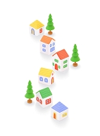 粘土の家と樹木