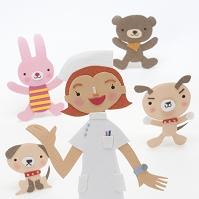 看護師と動物のクラフト