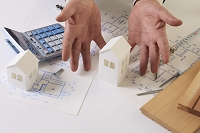 建築模型と手