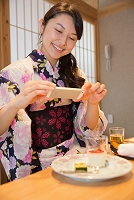 旅館の食事をスマホで撮影する浴衣の女性