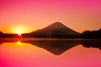 山梨県 朝焼けと朝日と逆さ映りの富士