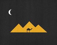 イラスト ピラミッドと月とラクダのシルエット