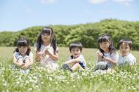 春の公園で花を摘む日本人の子供