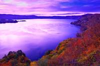 秋田県 敢湖台から望む夕景の十和田湖
