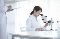 顕微鏡を覗き込む白衣の研究員