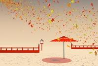 赤い和傘と複数の紅葉