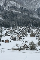 岐阜県 城山天守閣展望台から冬の白川郷