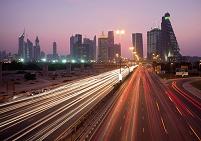 UAE ドバイ シェイク・ザーイド・ロード 夕景