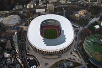東京都 新宿区 国立競技場(夕景)の空撮