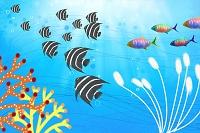 熱帯魚とサンゴ礁のイラスト