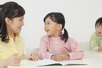 先生に勉強を習う子供達