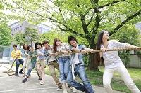 綱引きをする複数の男女大学生