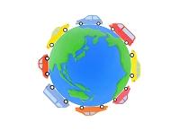 粘土の地球と8台の車