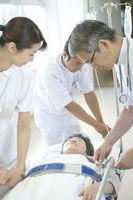 点滴の準備をする医師と看護師