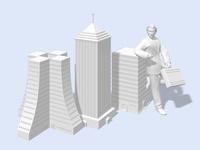 ビルディングオブジェに肘を掛けて寄りかかるビジネスマン
